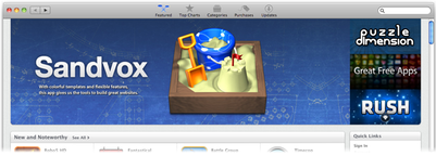 Sandvox featured in the Mac App Store