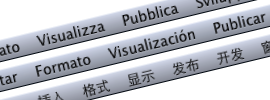 Menu bar in Italian, Spanish, and Chinese