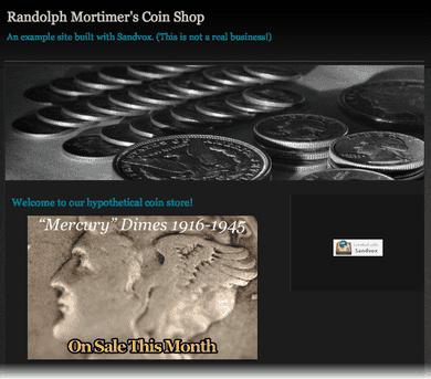 The coin store sandvox website